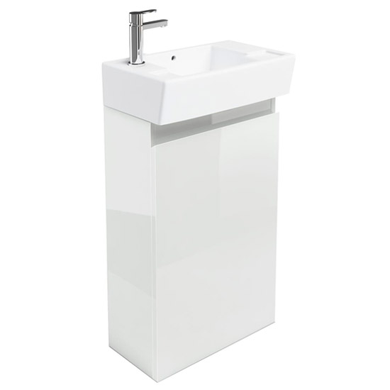 Britton Bathrooms - Deep cloakroom floor standing unit with Basin - White Large Image