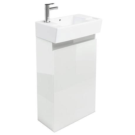 Britton Bathrooms - Deep cloakroom floor standing unit with Basin - White