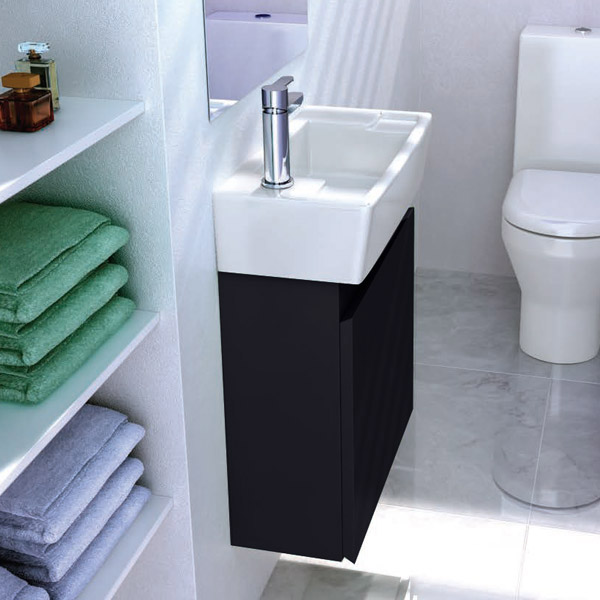 Britton Bathrooms - Deep cloakroom wall mounted unit with Basin - Black Profile Large Image