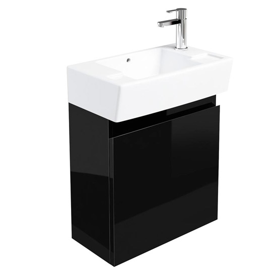 Britton Bathrooms - Deep cloakroom wall mounted unit with Basin - Black Large Image