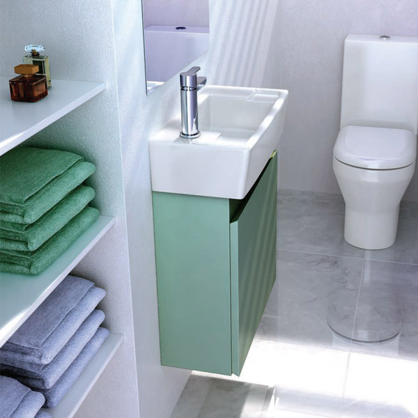 Britton Bathrooms - Deep cloakroom wall mounted unit with Basin - Ocean profile large image view 2