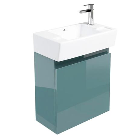 Britton Bathrooms - Deep cloakroom wall mounted unit with Basin - Ocean