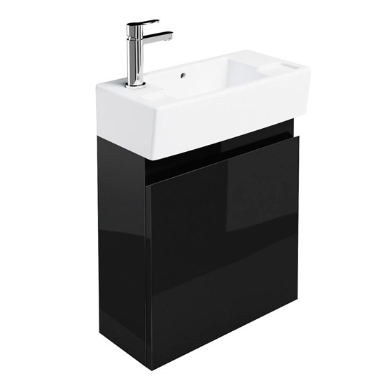 Britton Bathrooms - Narrow cloakroom wall mounted unit with Basin - Black Large Image