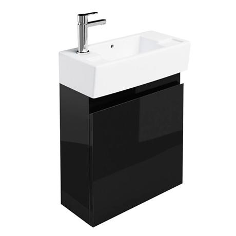 Britton Bathrooms - Narrow cloakroom wall mounted unit with Basin - Black
