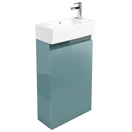 Britton Bathrooms - Narrow cloakroom floor mounted unit with Basin - Ocean