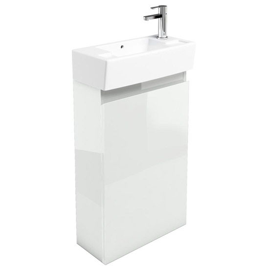 Britton Bathrooms - Narrow cloakroom floor mounted unit with Basin - White profile large image view 1