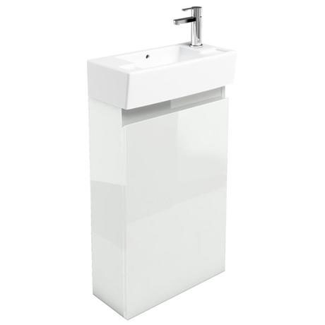 Britton Bathrooms - Narrow cloakroom floor mounted unit with Basin - White