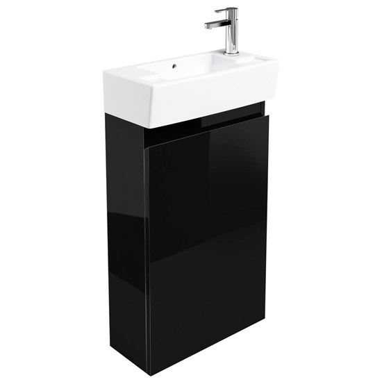 Britton Bathrooms - Narrow cloakroom floor mounted unit with Basin - Black Large Image
