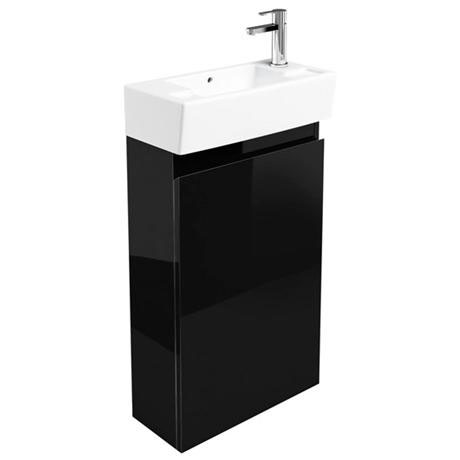 Britton Bathrooms - Narrow cloakroom floor mounted unit with Basin - Black