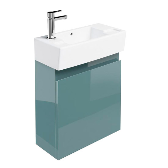 Britton Bathrooms - Narrow cloakroom wall mounted unit with Basin - Ocean Large Image