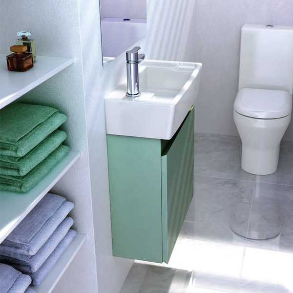 Britton Bathrooms - Narrow cloakroom wall mounted unit with Basin - Ocean Profile Large Image