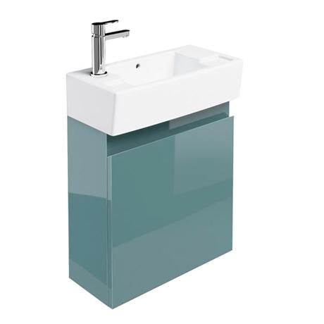 Britton Bathrooms - Narrow cloakroom wall mounted unit with Basin - Ocean