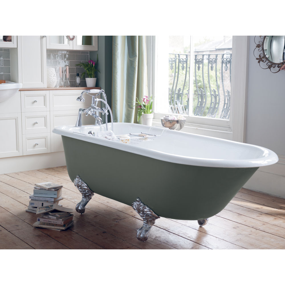 Heritage Wessex 2TH Slipper Cast Iron Bath (1540x770mm) with Feet Standard Large Image