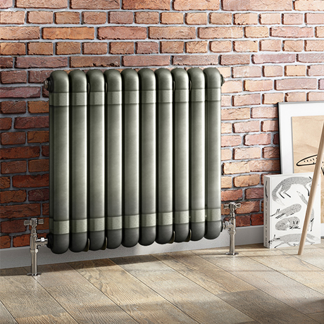 Buxton 600 x 615mm Raw Metal (Lacquered) 2 Column Horizontal Radiator