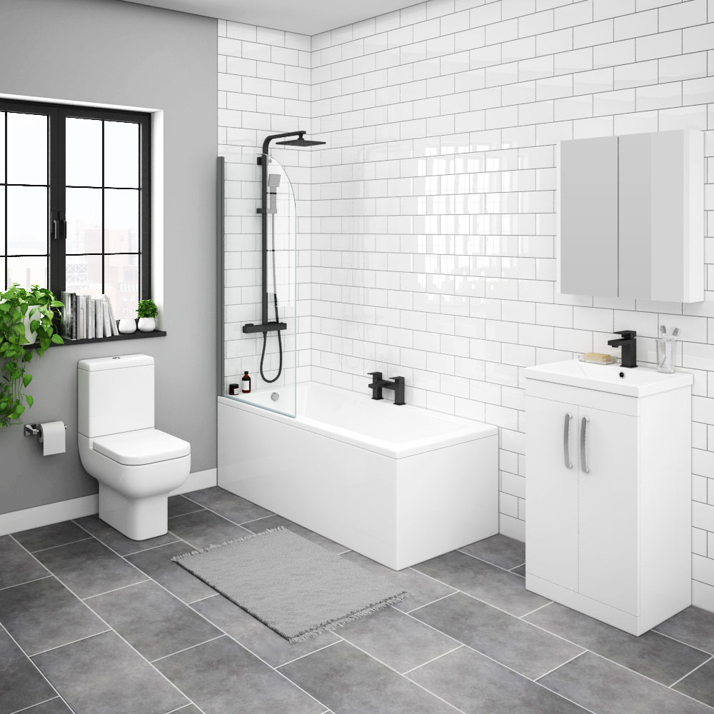 Brooklyn White Gloss Small Bathroom Suite