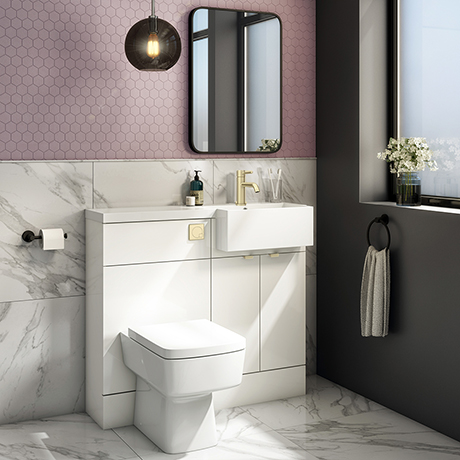 Brooklyn 1000 Gloss White Square Semi-Recessed Combination Unit w. Brushed Brass Handles + Flush
