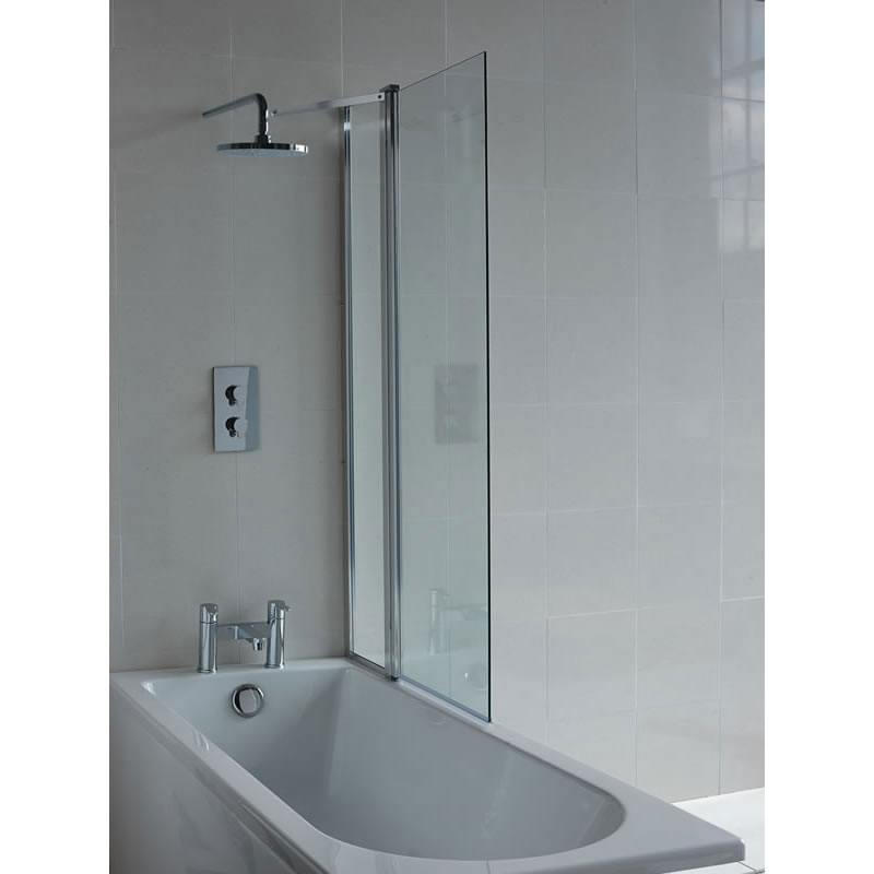 Britton Bathrooms - 850mm Bathscreen with Fixed Panel - BS2 Large Image