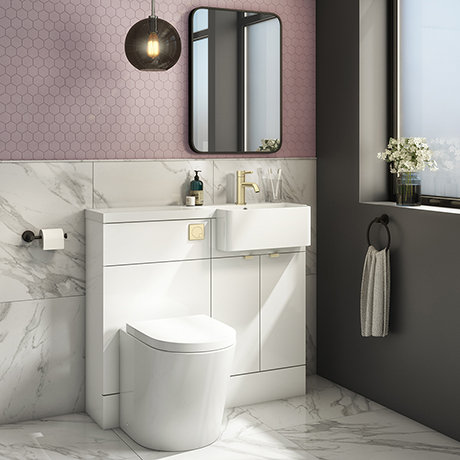 Brooklyn 1000 Gloss White Round Semi-Recessed Combination Unit w. Brushed Brass Handles + Flush