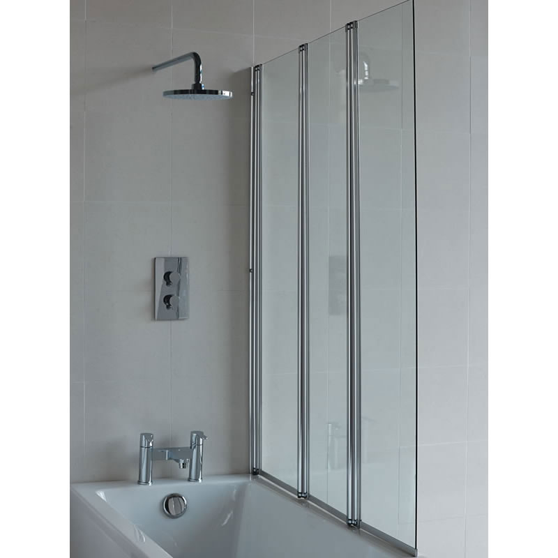 Britton Bathrooms - Three Panel Folding Bathscreen - BS4 Large Image