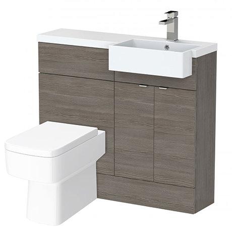 Brooklyn 1000 Grey Avola Semi-Recessed Combination Unit (Square Basin, Vanity + WC Unit)