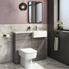 Brooklyn 1000 Grey Avola Semi-Recessed Combination Unit (Square Basin, Vanity + WC Unit) profile small image view 1