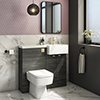 Brooklyn 1000 Black Square Semi-Recessed Combination Unit w. Brushed Brass Handles + Flush profile small image view 1