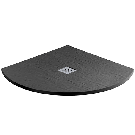 Imperia 800 x 800mm Black Slate Effect Quadrant Shower Tray + Chrome Waste