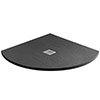 Imperia 900 x 900mm Black Slate Effect Quadrant Shower Tray + Chrome Waste profile small image view 1