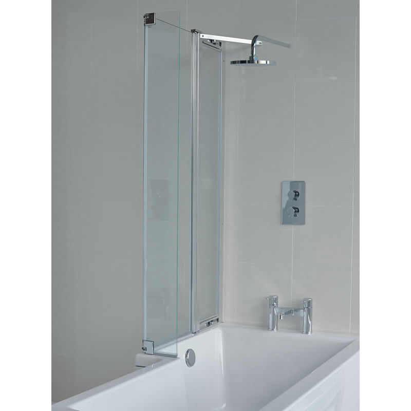 Britton Bathrooms - EcoSquare Bathscreen with Fixed Panel - Left or Right Hand Option Large Image