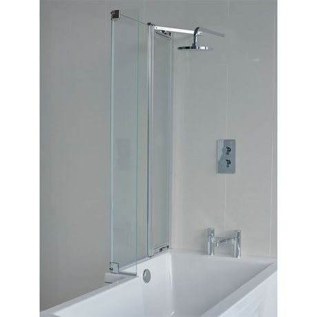 Britton Bathrooms - EcoSquare Bathscreen with Fixed Panel - Left or Right Hand Option