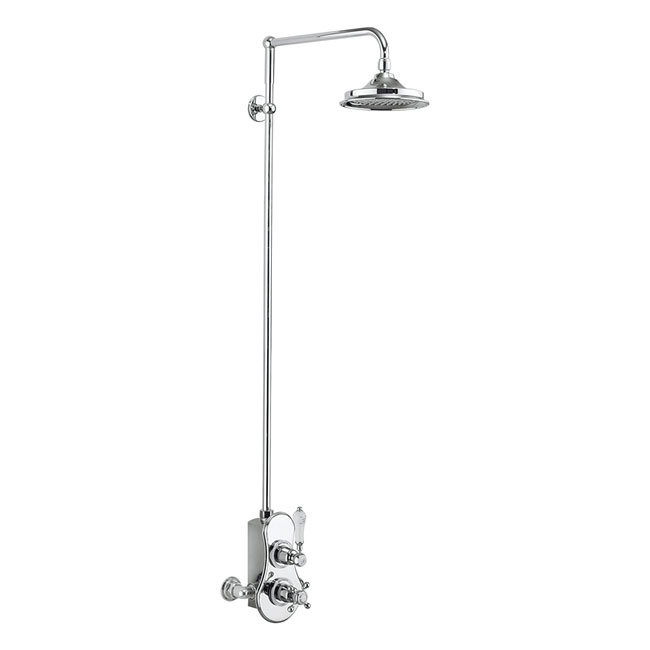 Burlington Spey Thermostatic Exposed Single Outlet Shower Valve & Rigid Riser with Fixed Head profile large image view 1
