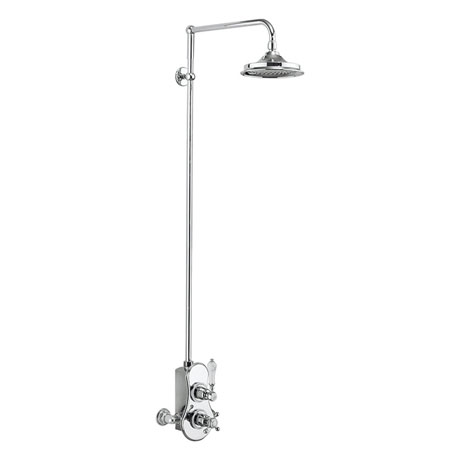 Burlington Spey Thermostatic Exposed Single Outlet Shower Valve & Rigid Riser with Fixed Head