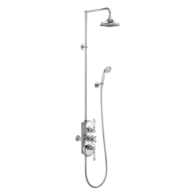 Burlington Spey Thermostatic Two Outlet Exposed Shower Valve, Rigid Riser & Kit with Fixed Head profile large image view 1