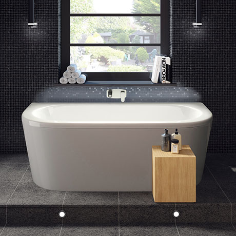 Hudson Reed Pearl 1700 Eternalite Back To Wall Bath + Panel