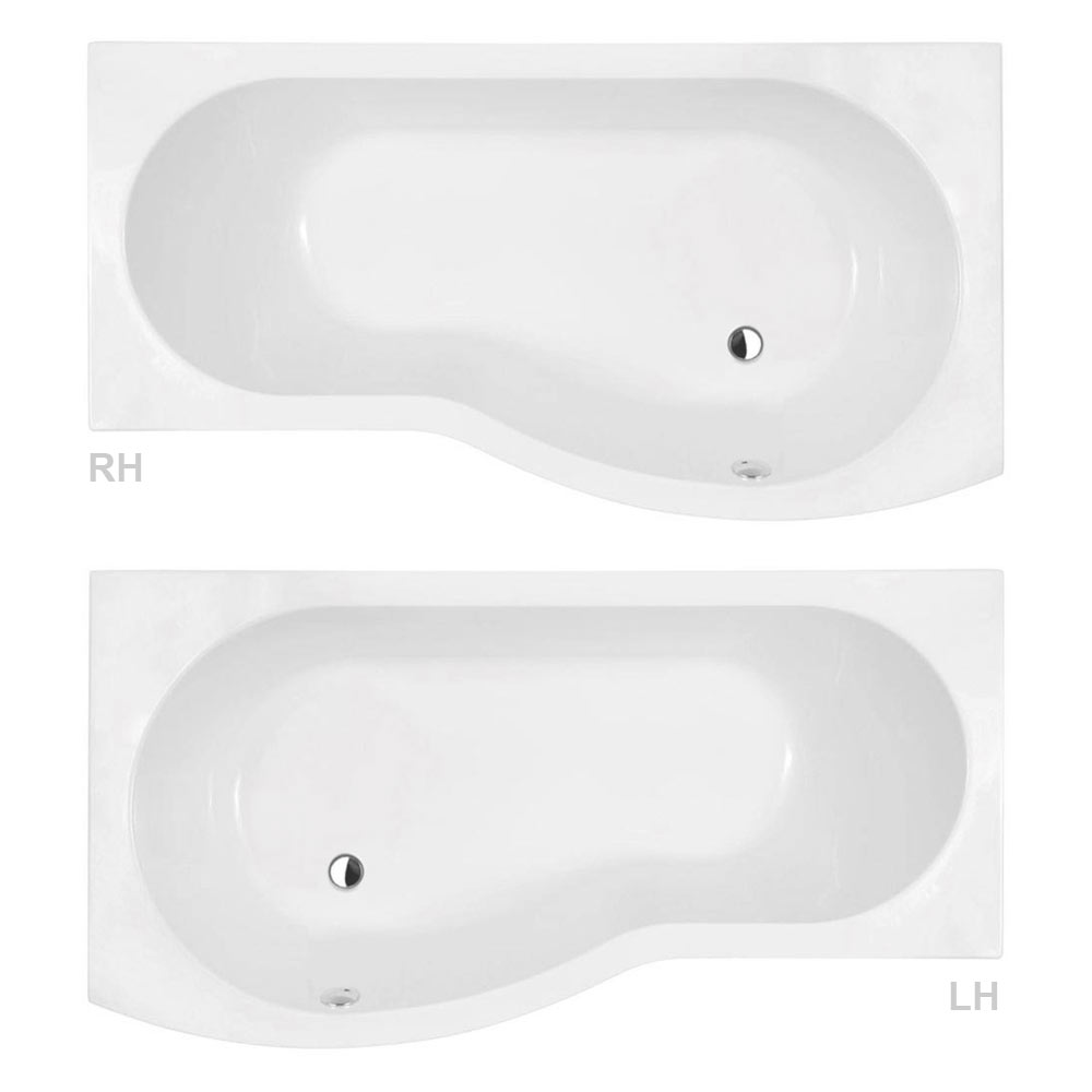 Premier Curved Shower Bath (1500mm with Screen + Acrylic Panel) profile large image view 3