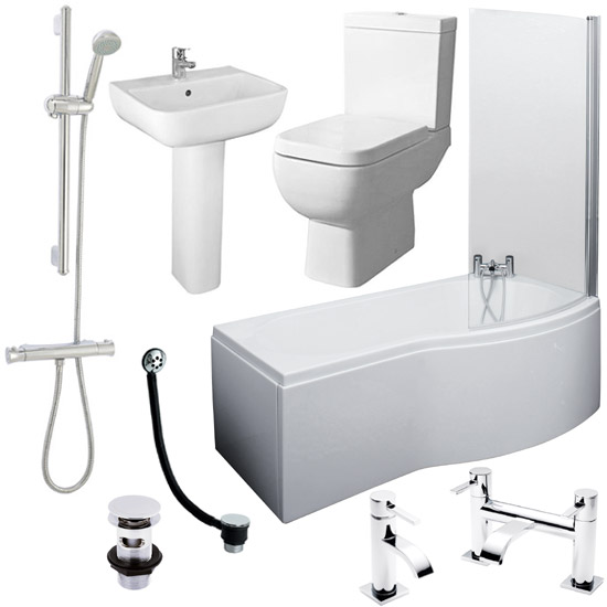 Cove Complete Bathroom Suite: B-Shaped 1700 Complete Bathroom Package At Victorian