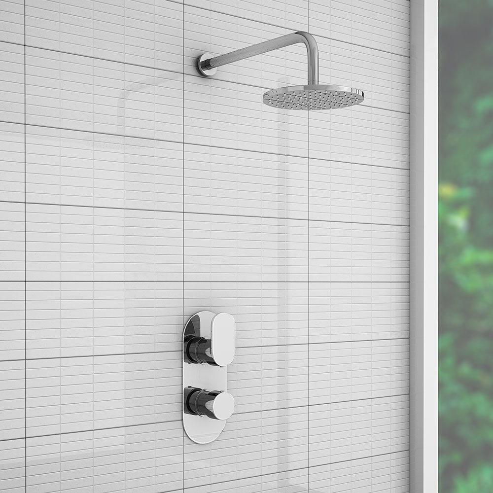 Bosa Modern Shower Package with Concealed Valve + Round Rainfall Head