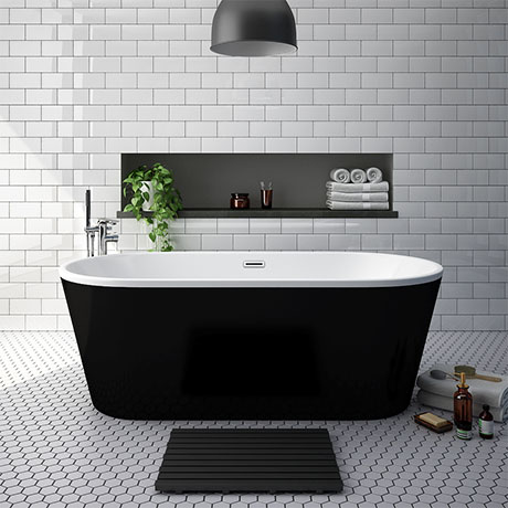 Windsor Brooklyn Black 1690 x 790mm Double Ended Freestanding Bath