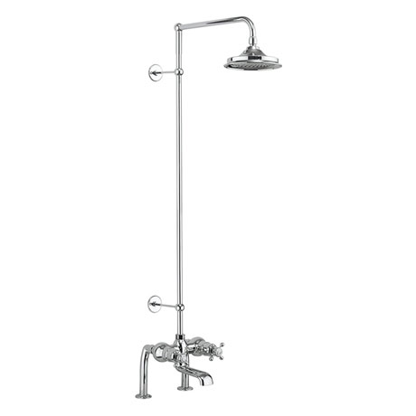 Burlington Tay Deck Mounted Bath Shower Mixer & Rigid Riser with Fixed Head