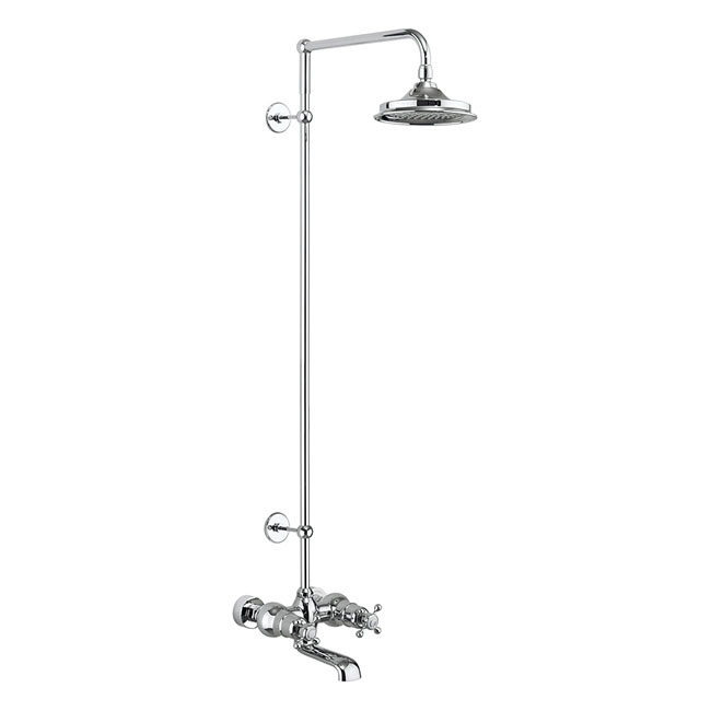 Burlington Tay Wall Mounted Bath Shower Mixer & Rigid Riser with Fixed Head Large Image