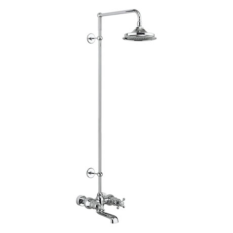 Burlington Tay Wall Mounted Bath Shower Mixer & Rigid Riser with Fixed Head
