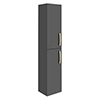 Brooklyn Gloss Grey Wall Hung Tall Storage Cabinet with Brushed Brass Handles profile small image view 1