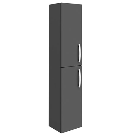 Brooklyn Gloss Grey Wall Hung 2 Door Tall Storage Cabinet