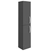 Brooklyn Gloss Grey Wall Hung 2 Door Tall Storage Cabinet profile small image view 1