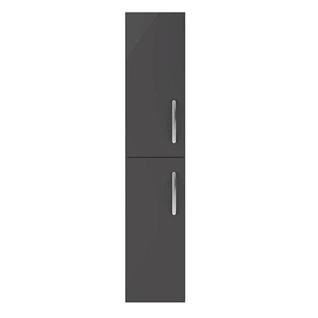 Brooklyn Gloss Grey Wall Hung 2 Door Tall Storage Cabinet