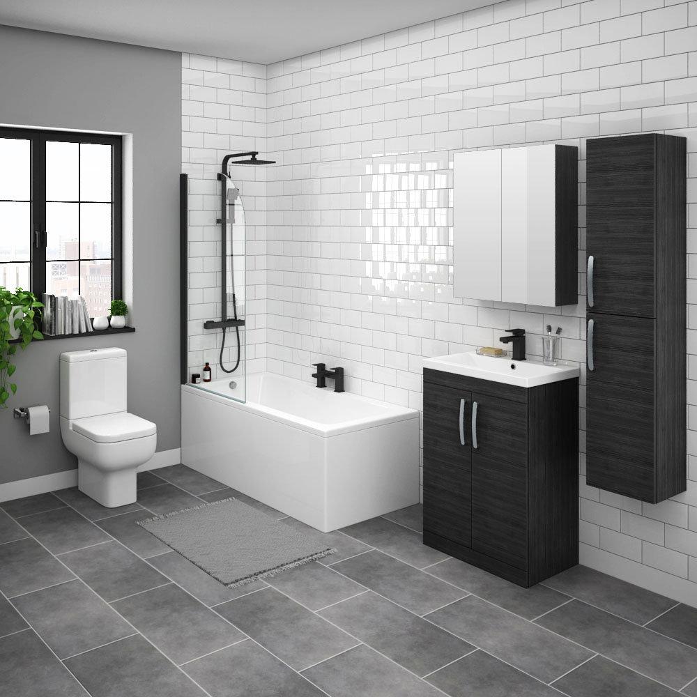 Brooklyn Hacienda Black Bathroom Suite with Tall Cabinet