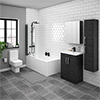 Brooklyn Hacienda Black Bathroom Suite with Tall Cabinet profile small image view 1