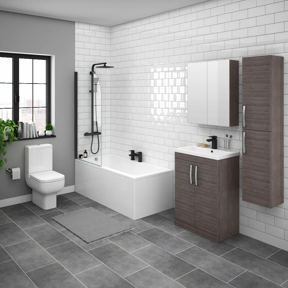 Brooklyn Grey Avola Bathroom Suite with Tall Cabinet
