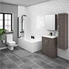 Brooklyn Grey Avola Bathroom Suite with Tall Cabinet profile small image view 1