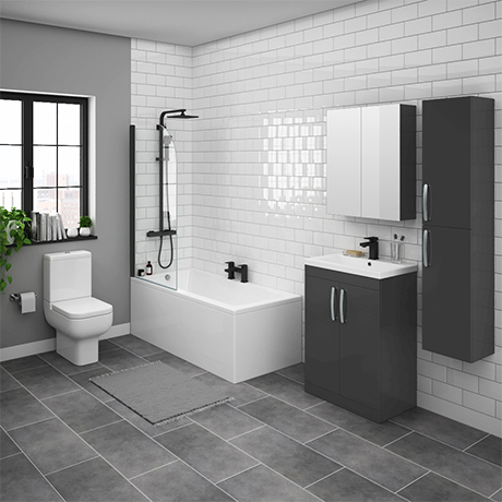 Brooklyn Gloss Grey Bathroom Suite with Tall Cabinet